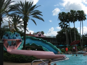 Doubloon Lagoon features a sea serpent water slide--the kids loved it!
